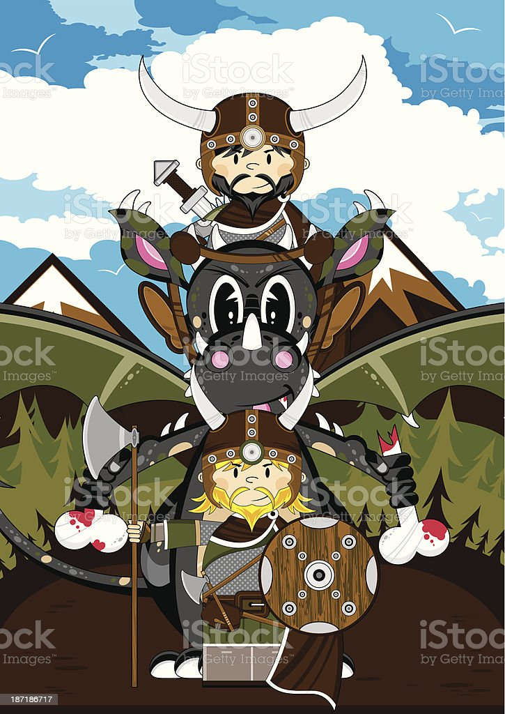 Mystical Dragon and Viking Warriors royalty-free stock vector art