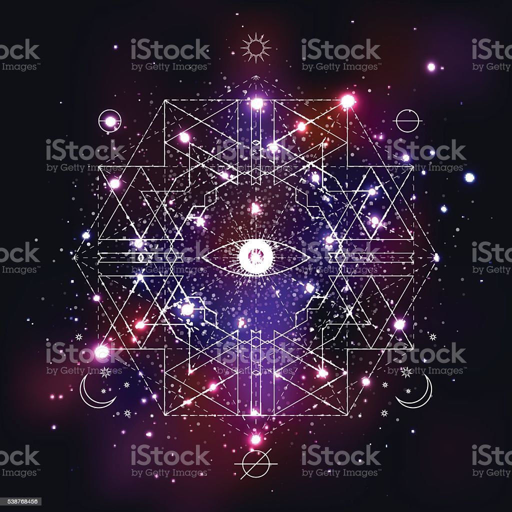 Mystical geometry symbol on space background. vector art illustration