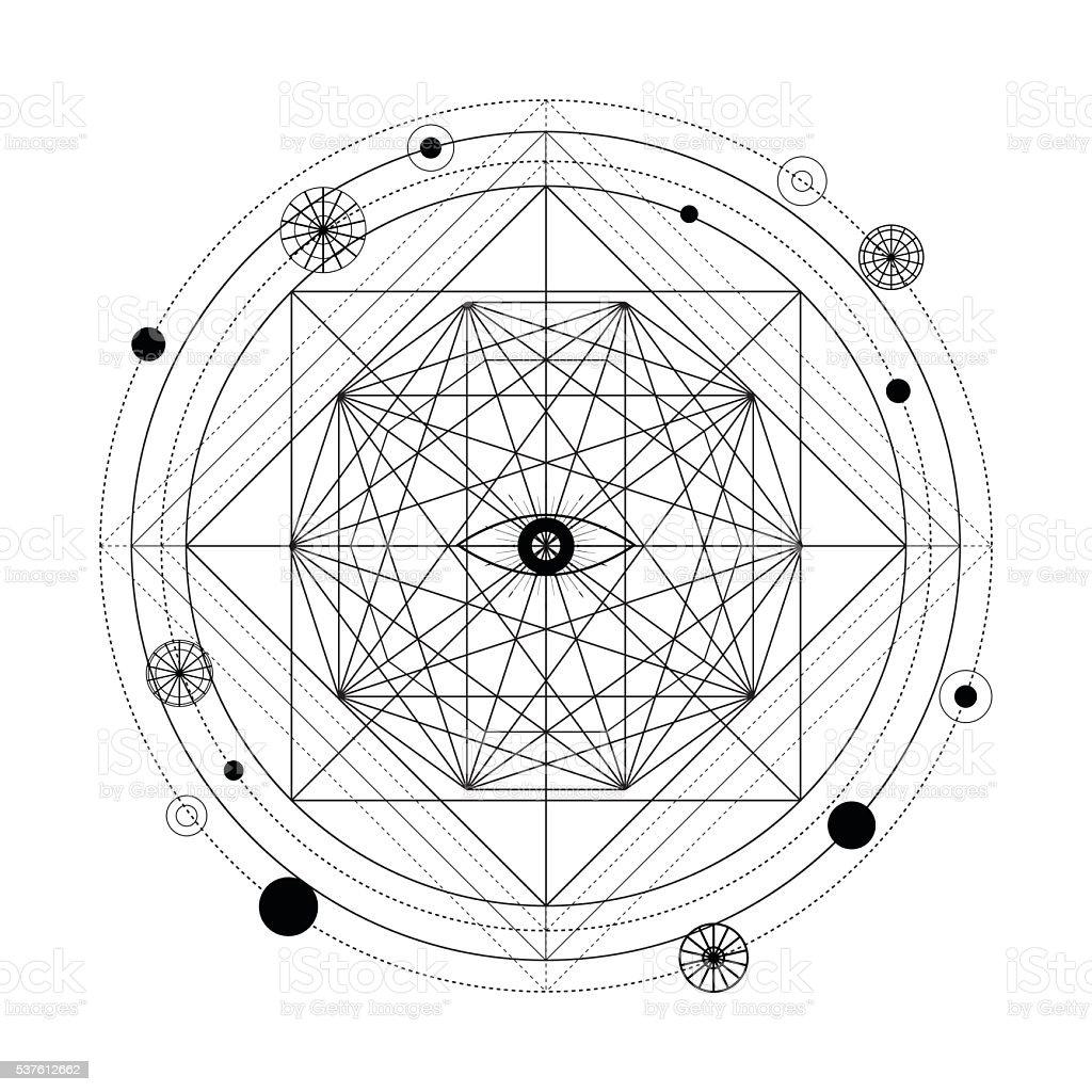 Mystical geometry symbol. vector art illustration