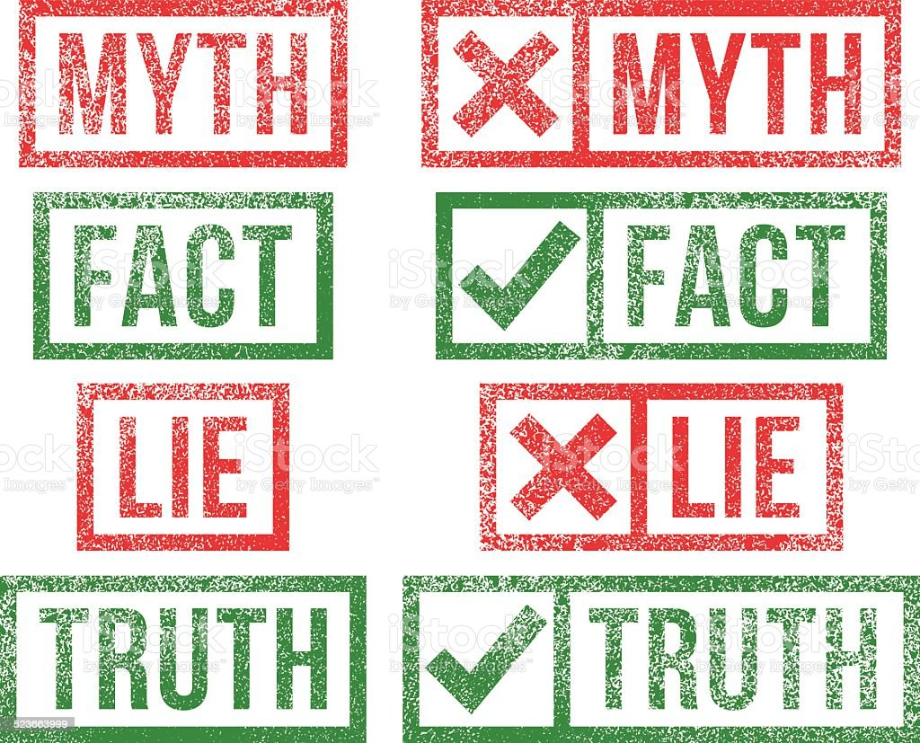 Myth Fact Lie Truth rubber stamps vector art illustration