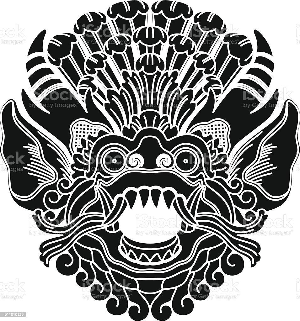 Mythological gods head, indonesian traditional art, black silhouette. vector art illustration