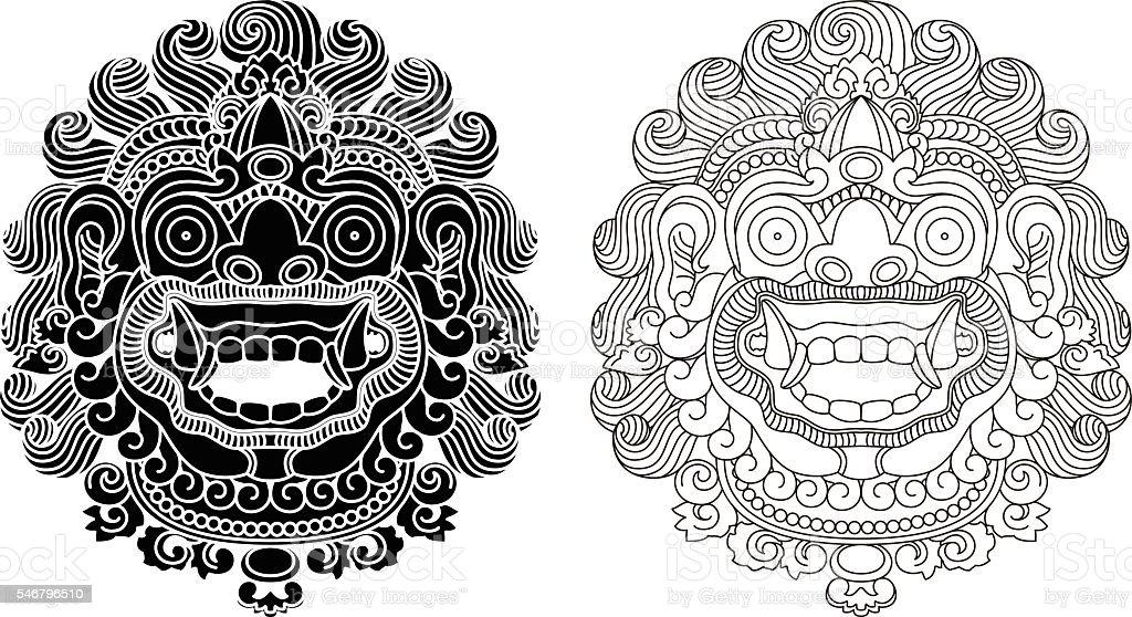Mythological god's masks. Balinese style. Barong. vector art illustration