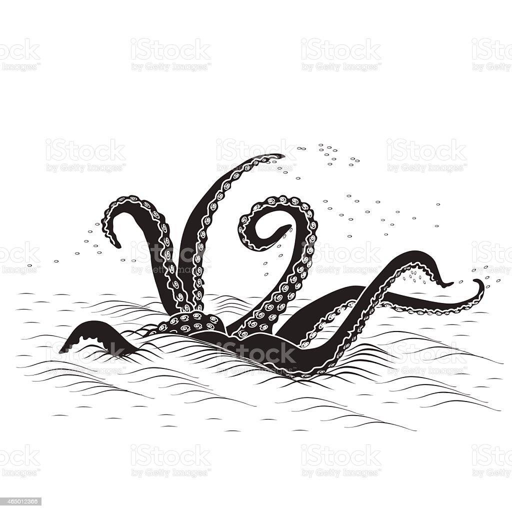 mythological kraken tentacles with the sea vector art illustration
