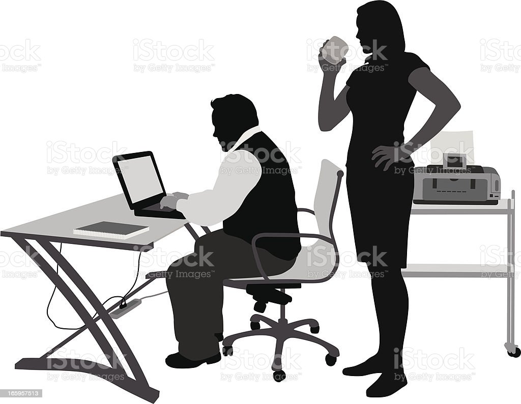 PC'n Coffeetime Vector Silhouette royalty-free stock vector art