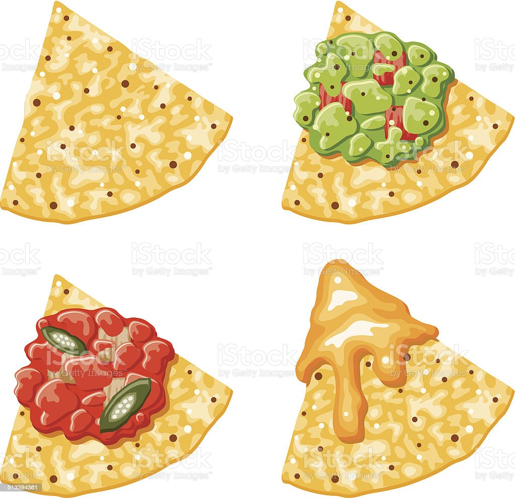 Nacho Corn Chip Icons With Toppings vector art illustration