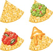 Nacho Corn Chip Icons With Toppings