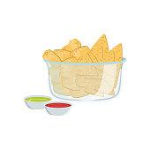 Nachos Street Food Menu Item Realistic Detailed Illustration