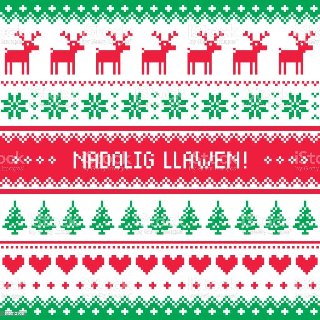 Nadolig Llawen - Merry Christmas in Welsh greetings card, seamless pattern vector art illustration