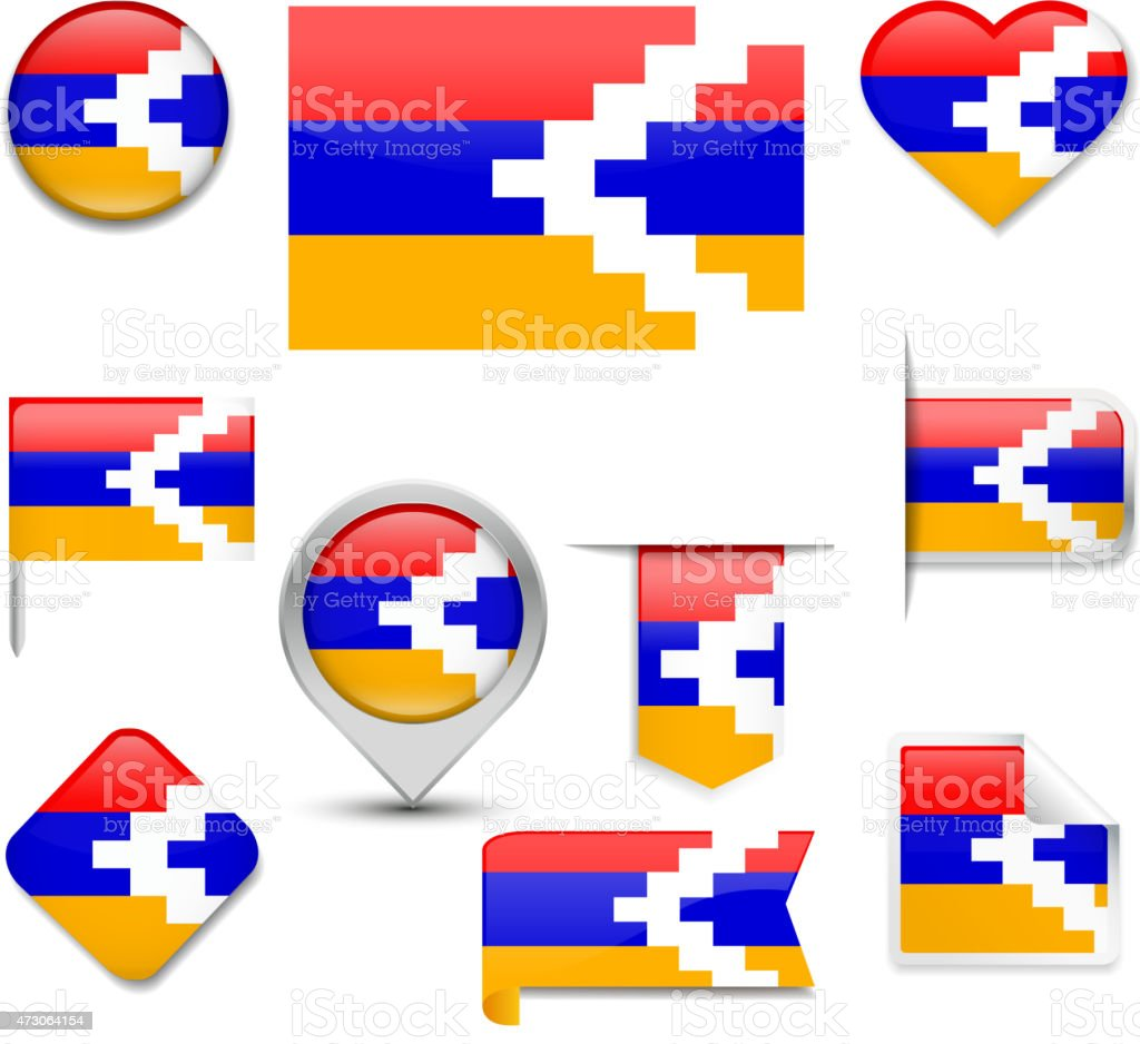 Nagorno Karabakh Flag Collection vector art illustration