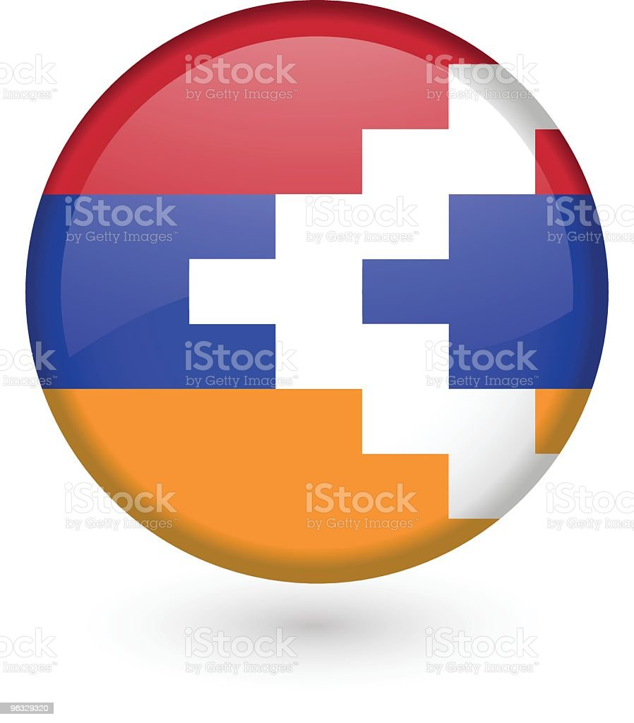 Nagorno-Karabakh flag button vector art illustration