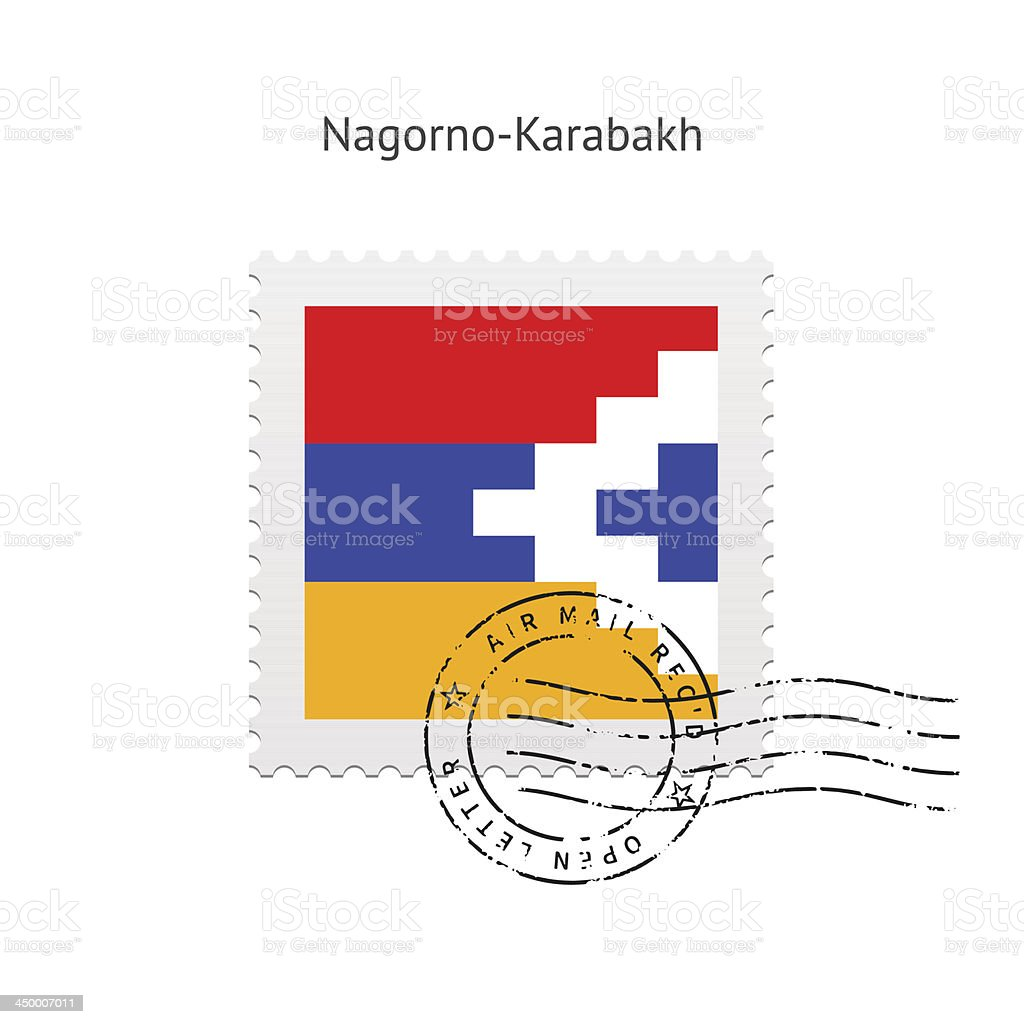 Nagorno-Karabakh Flag Postage Stamp vector art illustration