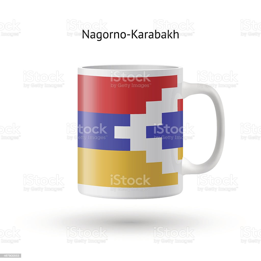 Nagorno-Karabakh flag souvenir mug on white background. vector art illustration