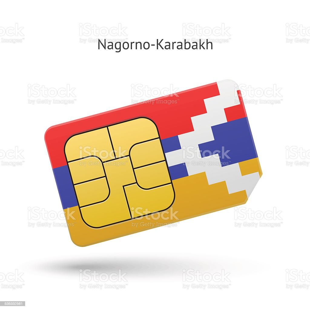 Nagorno-Karabakh mobile phone sim card with flag vector art illustration