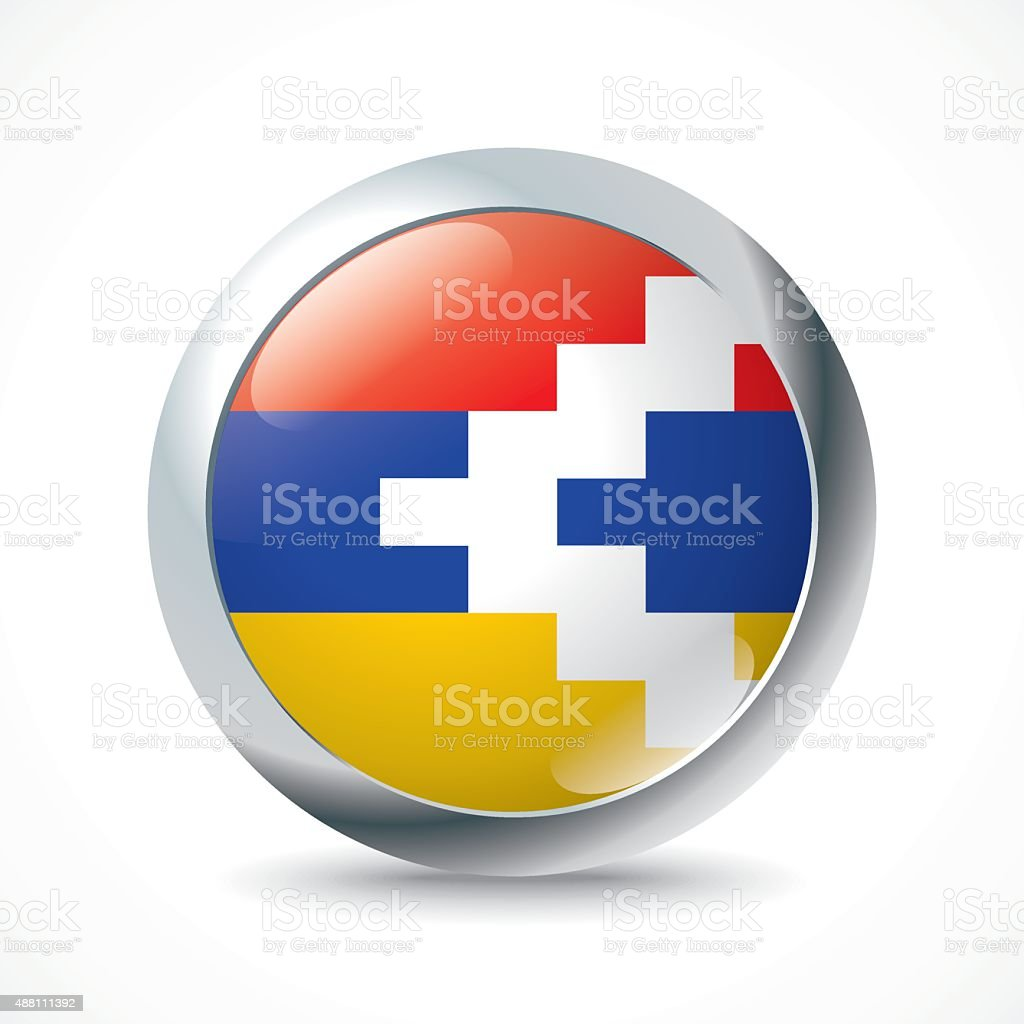 Nagorno-Karabakh Republic flag button vector art illustration