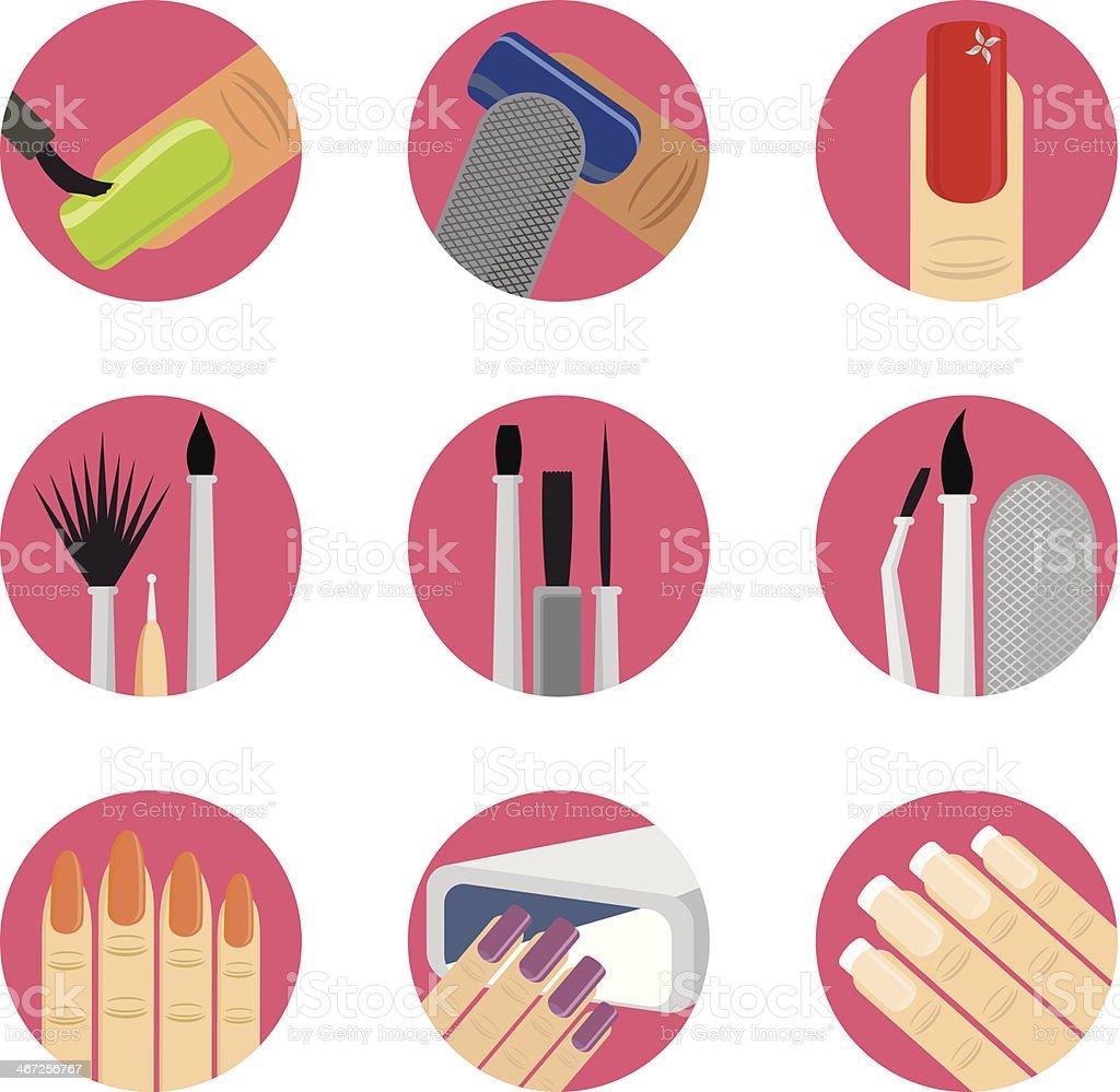 Nail Art Icon Set vector art illustration