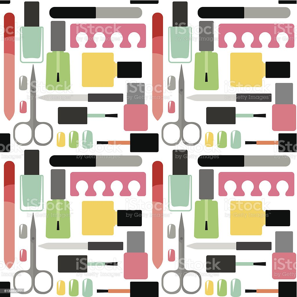 Nail beauty and care vector seamless pattern background vector art illustration