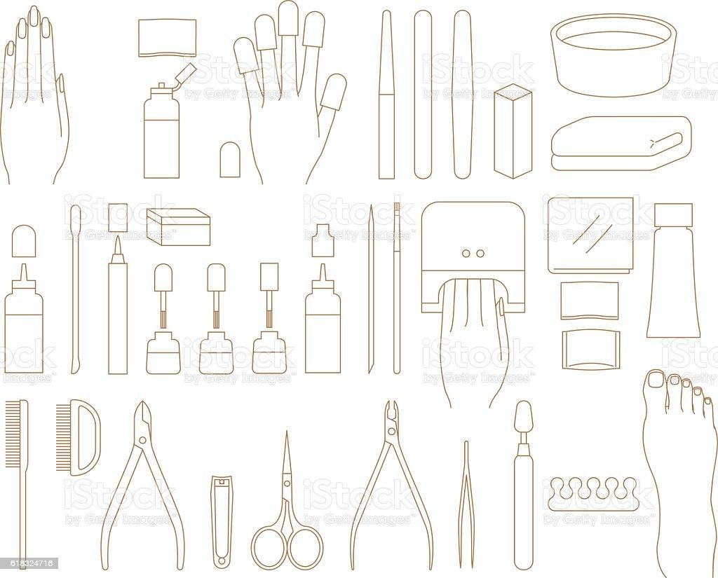 Nail Care Tools vector art illustration