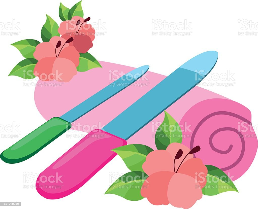Nail files on a towel. Illustration on nail care. vector art illustration