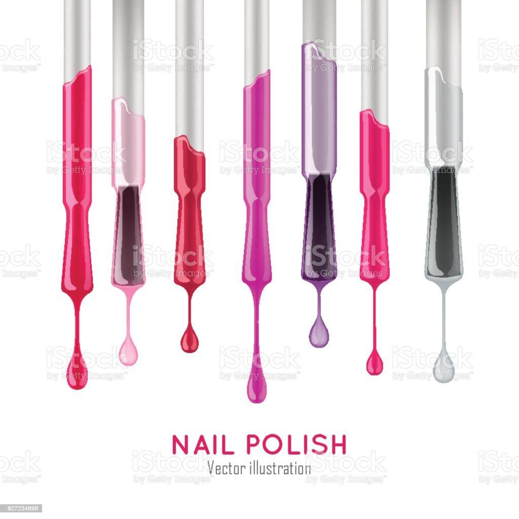 Nail polish examples realistic set vector art illustration