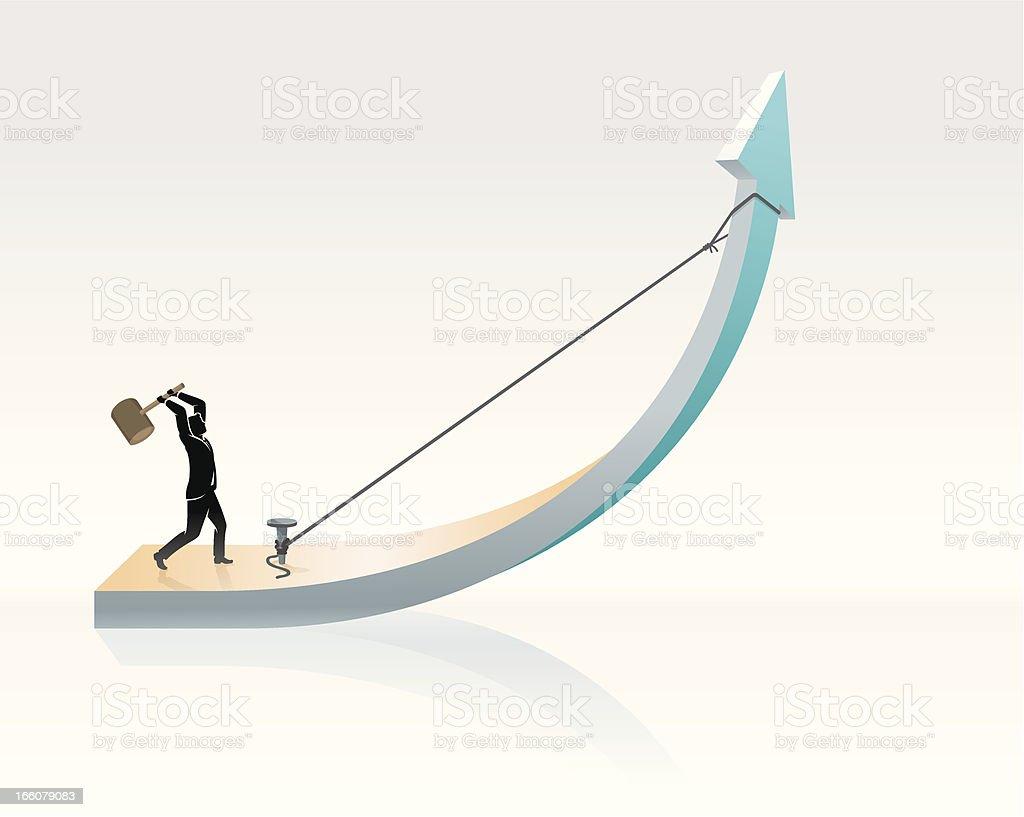 Nailing that Success Growth royalty-free stock vector art
