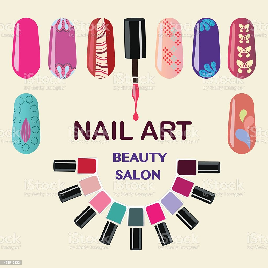 Nails art beauty salon background vector art illustration