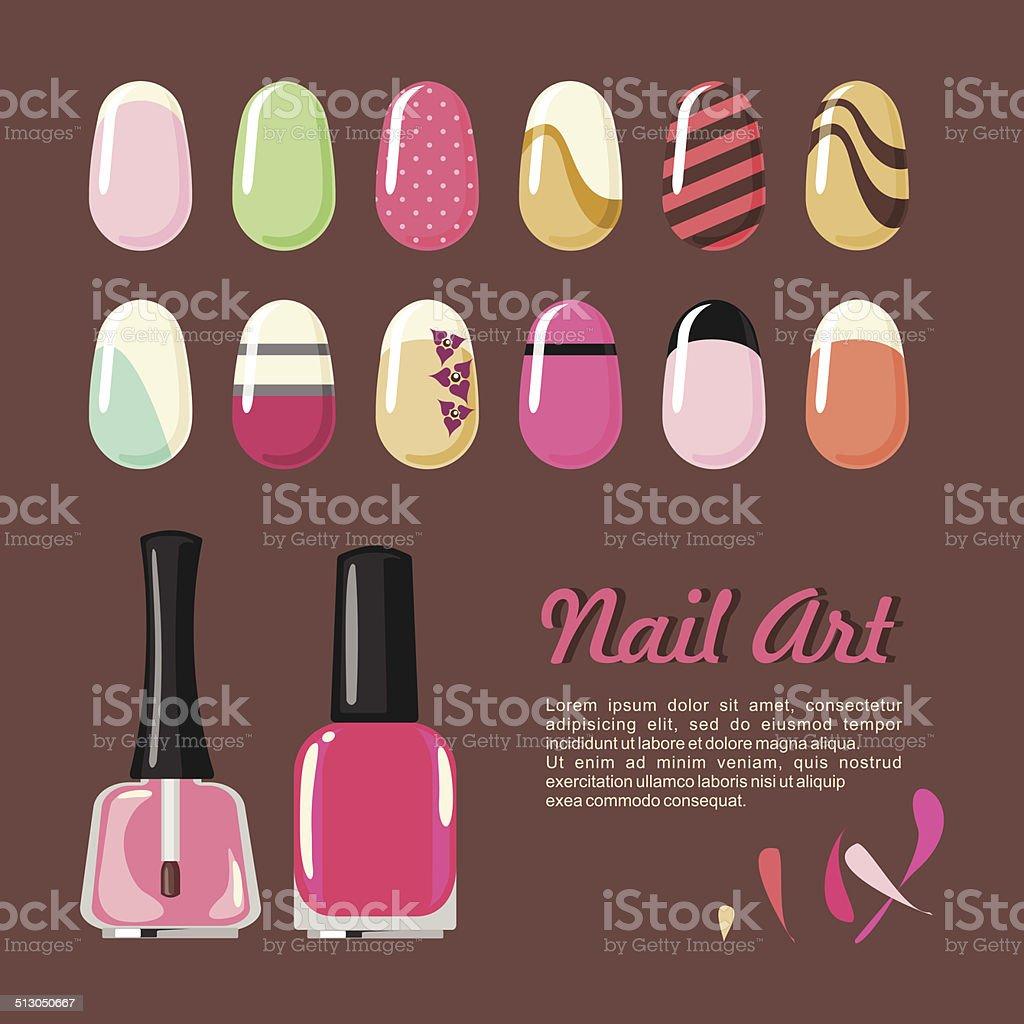 Nails art templates and polish bottle vector art illustration