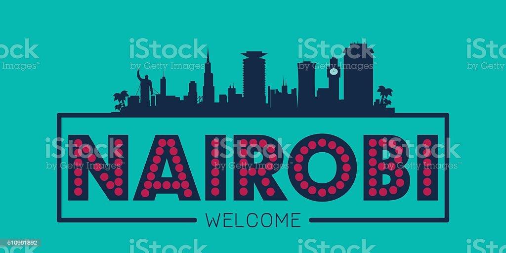 Nairobi Kenya city skyline silhouette vector art illustration