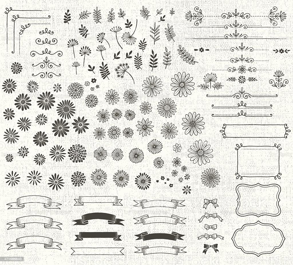 Naive Style Hand Drawn Flowers and Design Elements and Texture vector art illustration