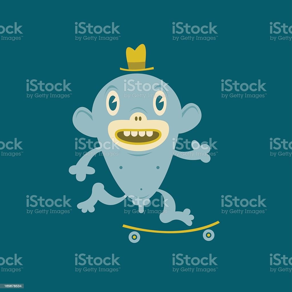 Naked Skateboarding Star royalty-free stock vector art
