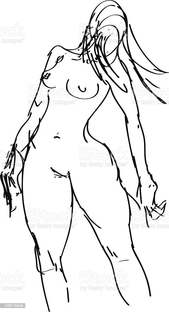 Naked Woman vector art illustration