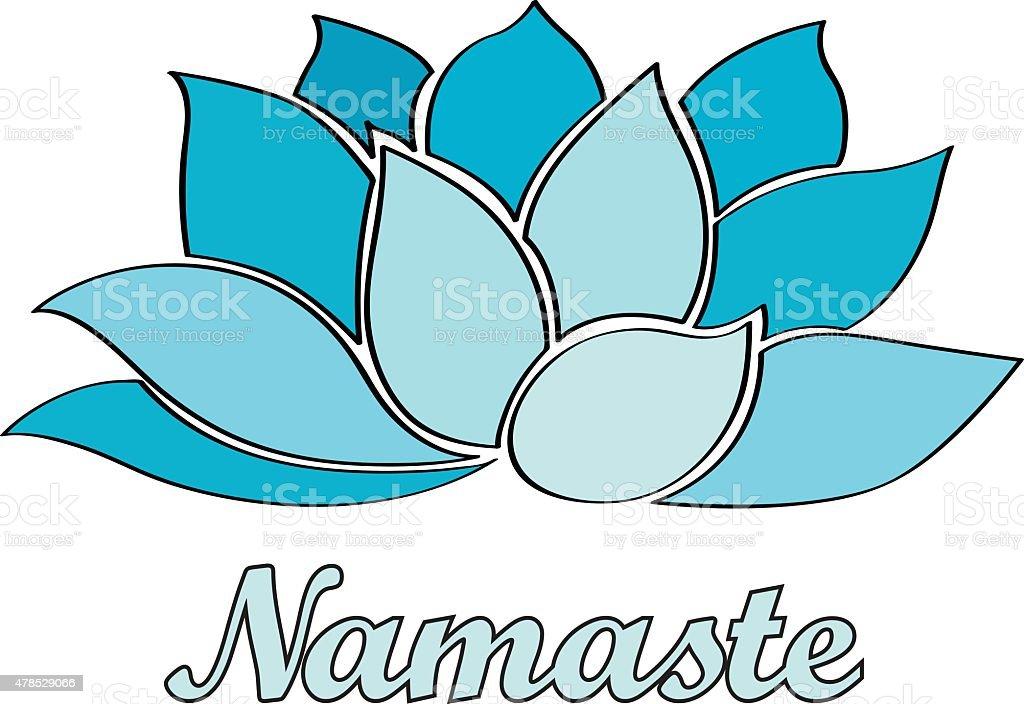 namaste - lotus flower vector art illustration