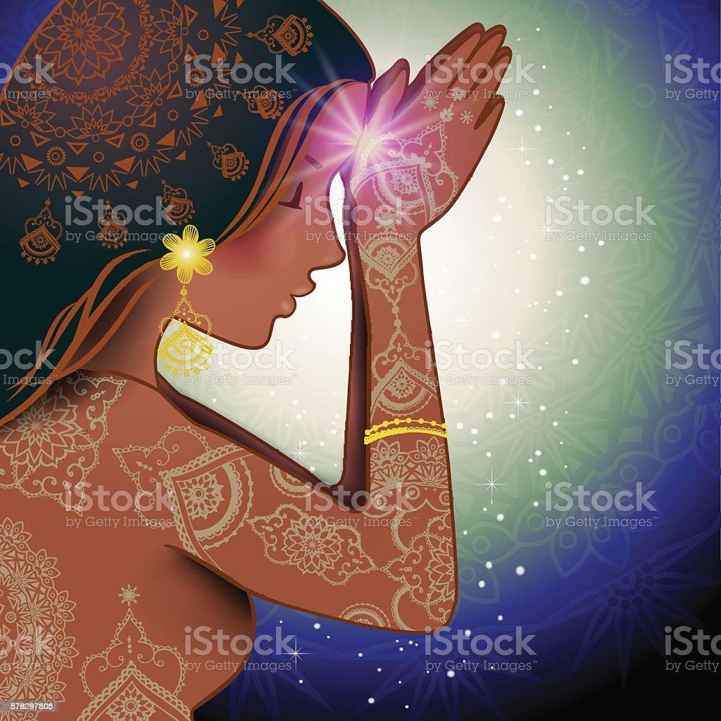 Namaste Woman vector art illustration