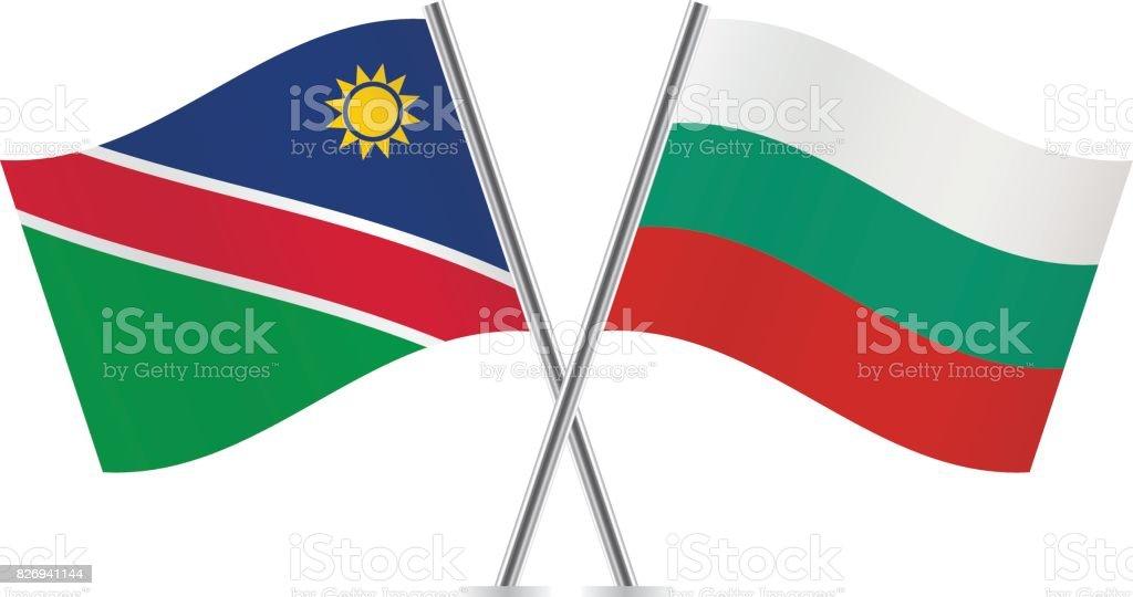 Nambia and Bulgaria flags.Vector illustration. vector art illustration