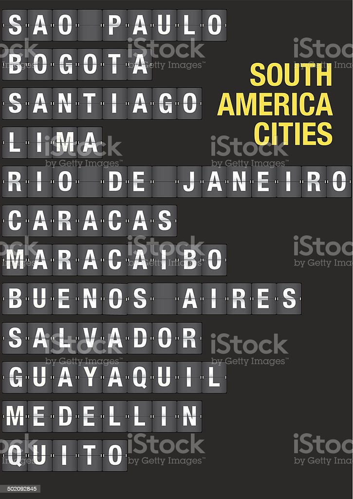 Name of South American Cities on Airport Flip Board vector art illustration