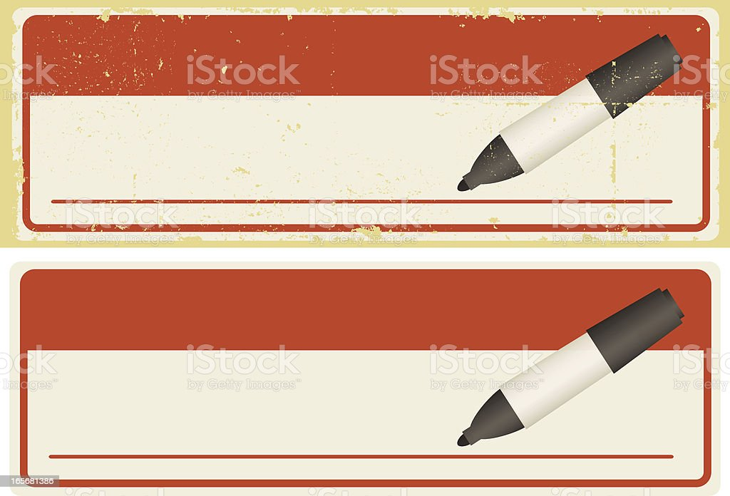 Name Tag With Pen Banners royalty-free stock vector art