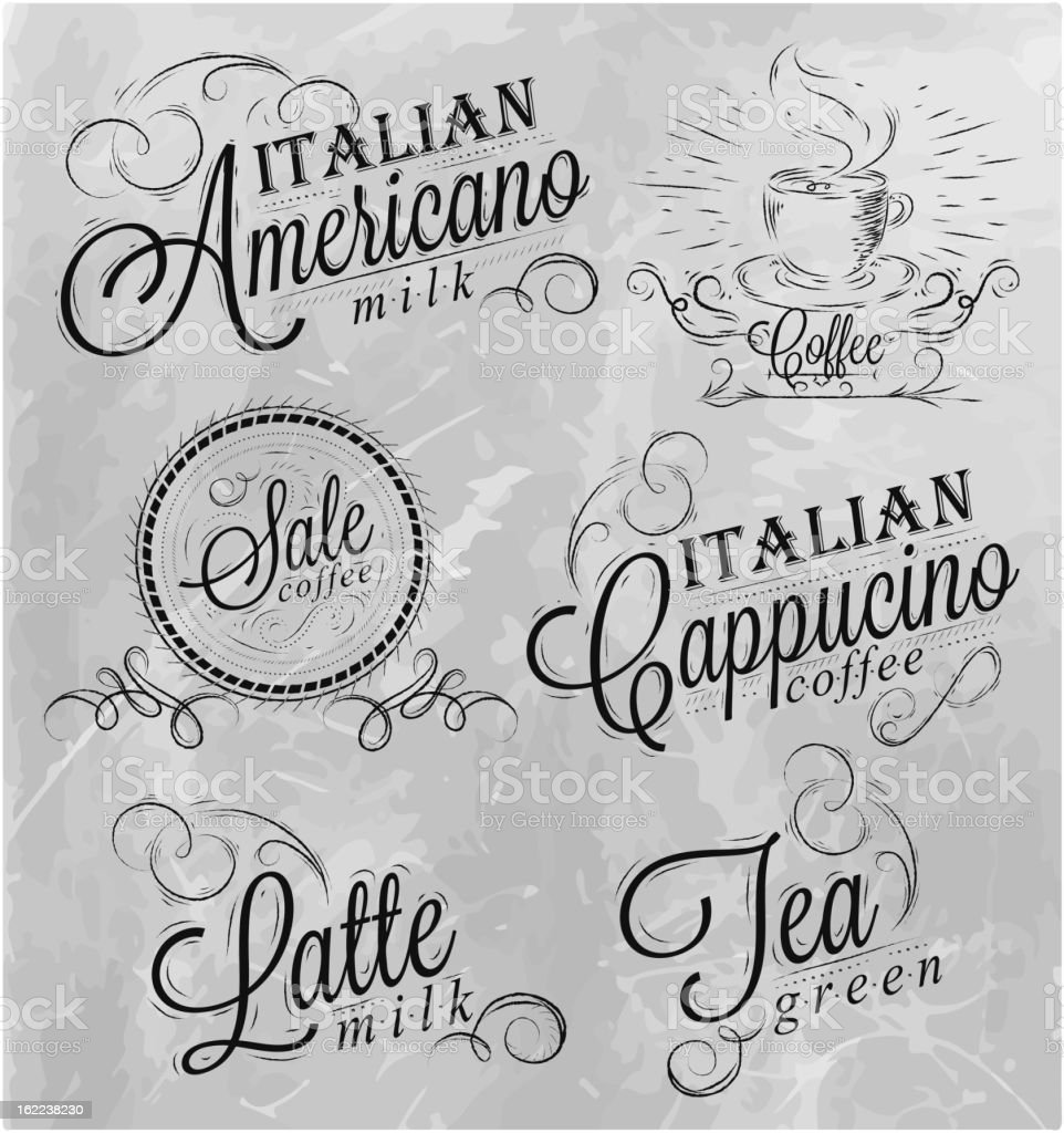 Names of coffee drinks 2 royalty-free stock vector art
