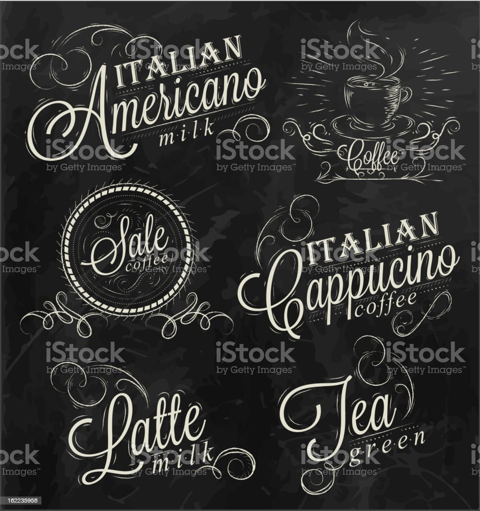 Names of coffee drinks royalty-free stock vector art