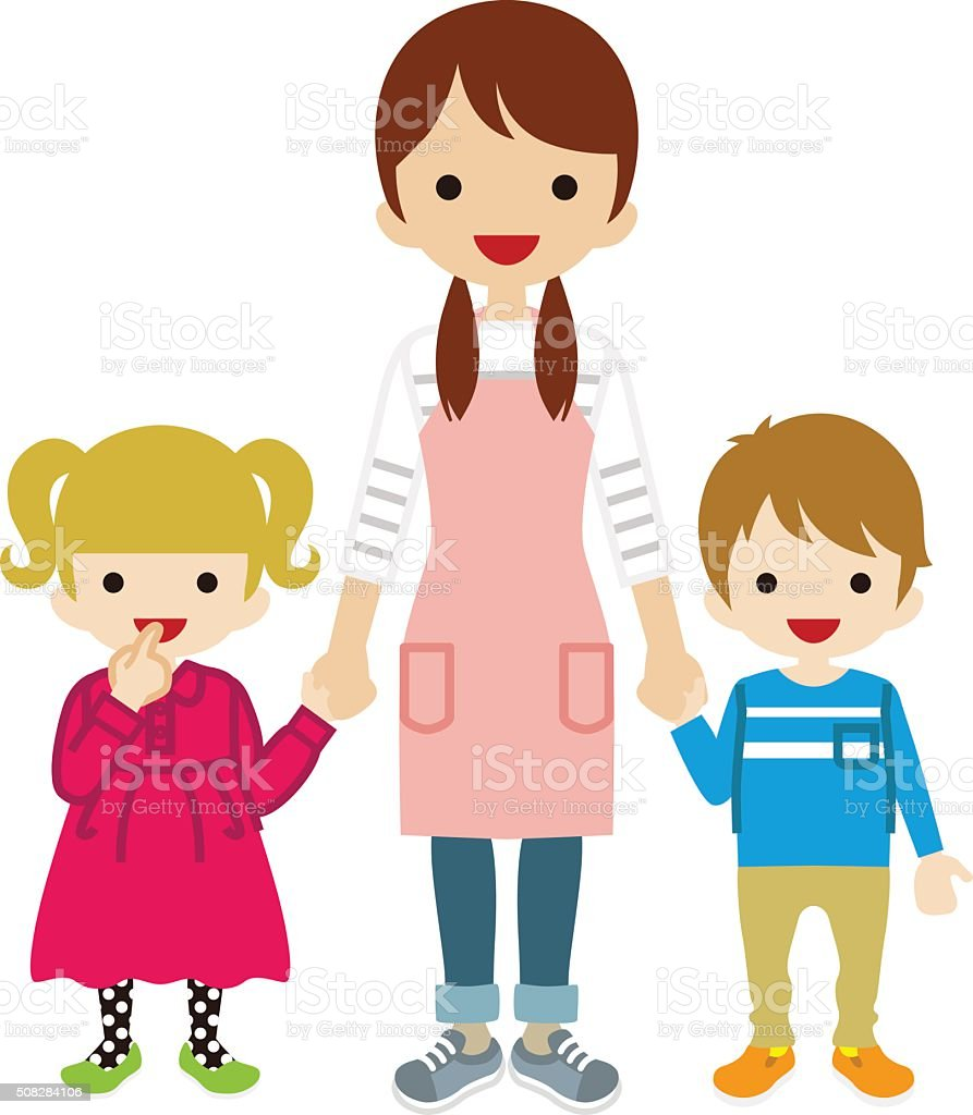 Nanny and two children vector art illustration