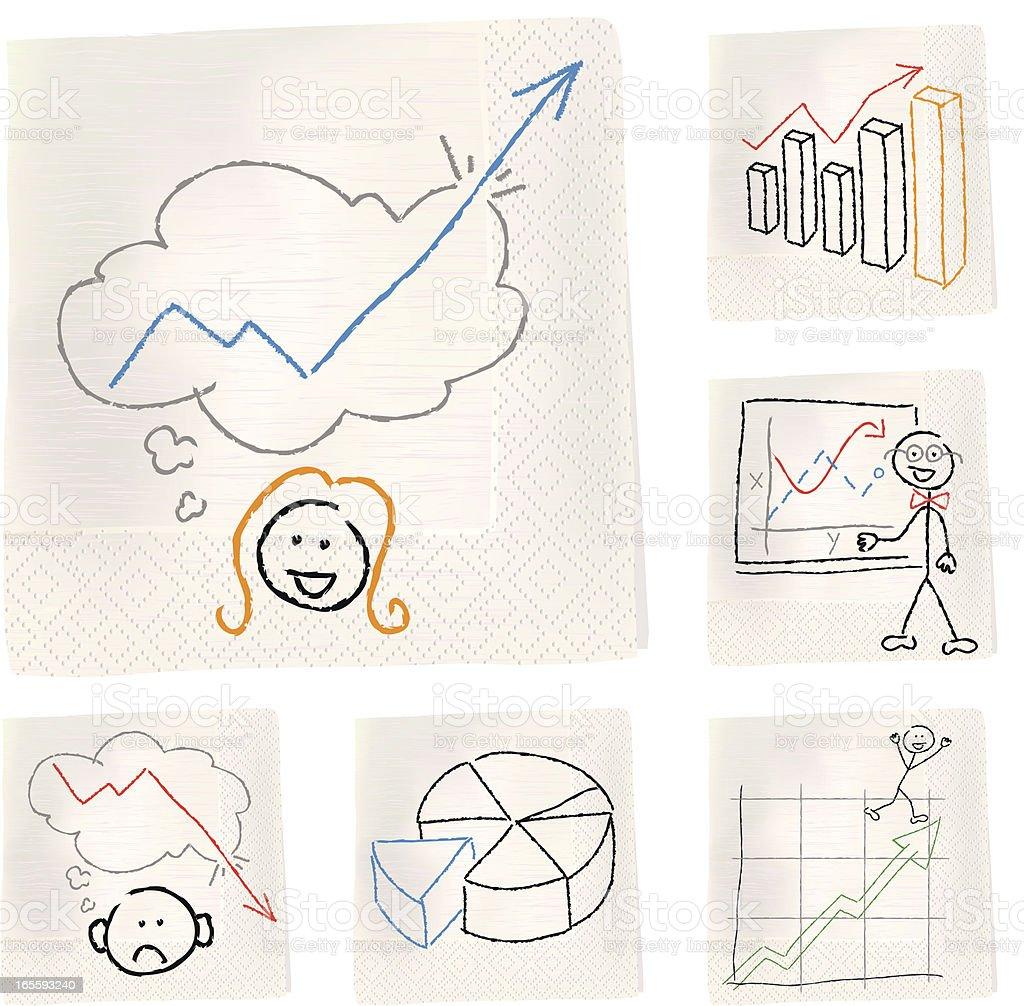 Napkin sketches - Charts vector art illustration
