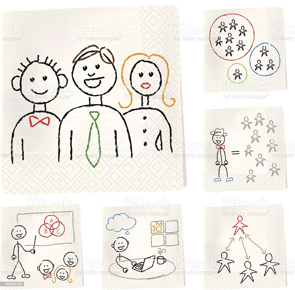 Napkin sketches - Group and Teams vector art illustration