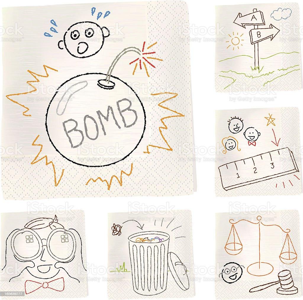 Napkin sketches - Metaphors royalty-free stock vector art