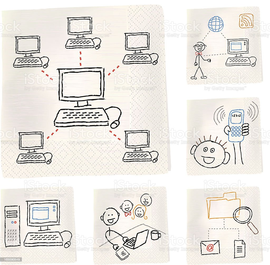 Napkin sketches - Technology royalty-free stock vector art