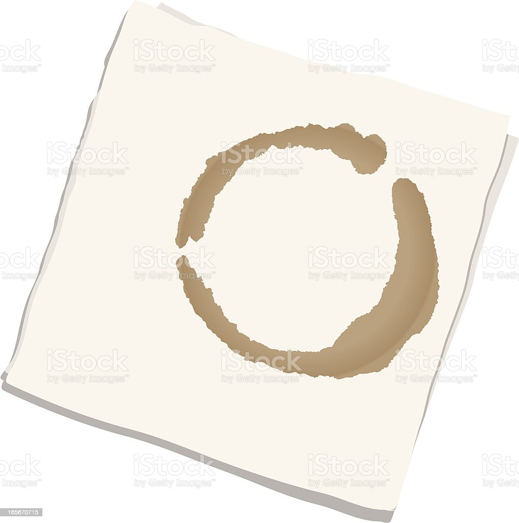 Napkin with coffee stain vector art illustration