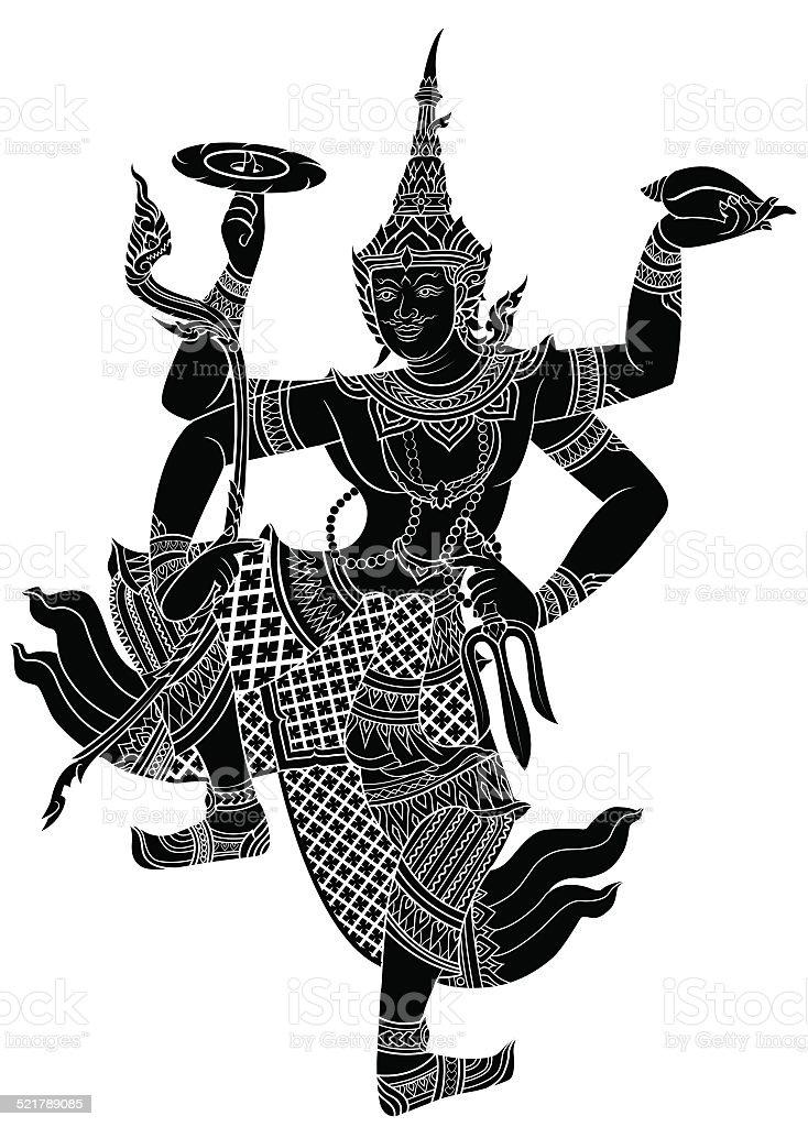 Narayana or Pra Narai, the highest god vector art illustration