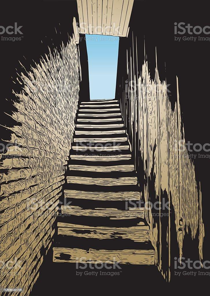 Narrow old stairway vector art illustration