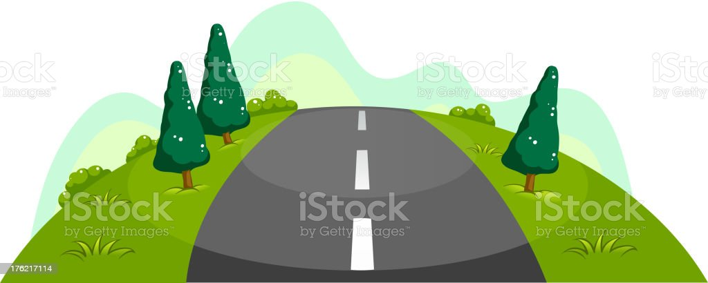 Narrow road at the hill royalty-free stock vector art