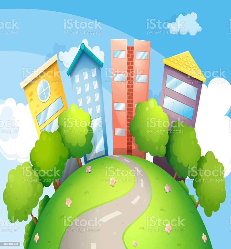 Narrow road going to the tall buildings royalty-free stock vector art