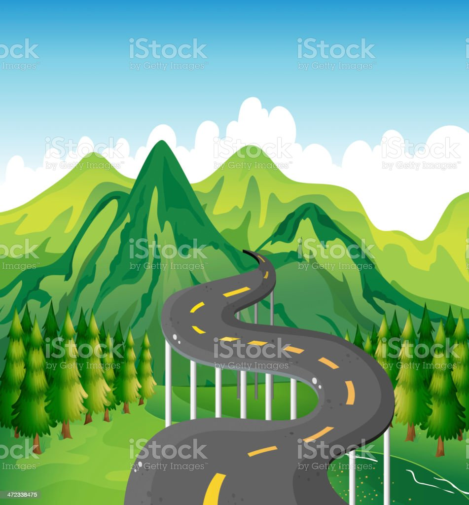 narrow road royalty-free stock vector art