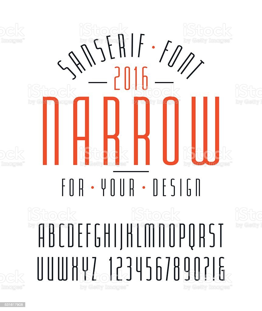 Narrow sanserif font and numbers vector art illustration