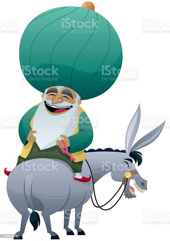 Nasreddin Hodja vector art illustration